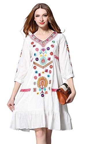 Damen Frauen Vintage Sommerkleider Kleid Mexikanischen Ethnischen Bestickt Minikleid Blume Stickerei Kleid (S)