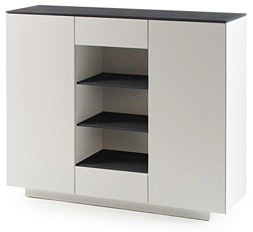 Highboard in matt weiß mit Deckplatte aus Glas in Steinoptik grau, 2 Türen, 2 Schubkästen, 3 Fächer und 6 Einlegeböden, Maße: B/H/T ca. 129/109/40 cm