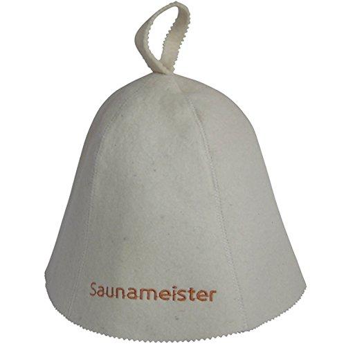 "Saunahut bestickt ""Saunameister""- 100% Wollfilz - Saunakappe Filzkappe Sauna Hut - geprüfte Qualität !"