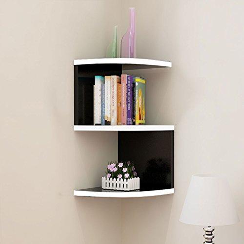 Mehrstöckige Bücherregale an der Wand, schwarze und weiße Eckregale, moderne, minimalistische,...