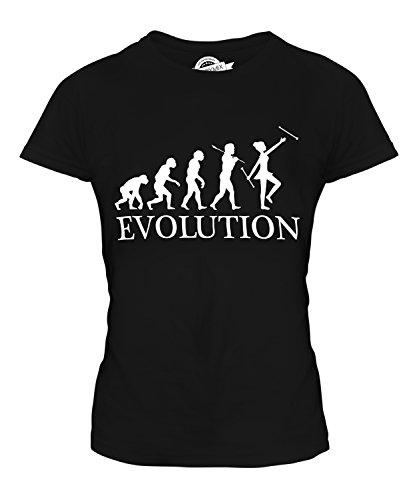 Candymix Baton Twirling Evolution des Menschen Damen T Shirt, Größe Small, Farbe Schwarz (Zoo Keeper Kostüm)