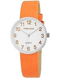 Excellanc  - Reloj de cuarzo para mujer, correa de diversos materiales color naranja