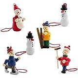 BRUBAKER Statuine natalizie, raffiguranti il bianco natale sulla neve, realizzate in legno di alta qualità e dipinte a mano - ideate per essere appese all'albero di natale - decorazione natalizia da sei pezzi