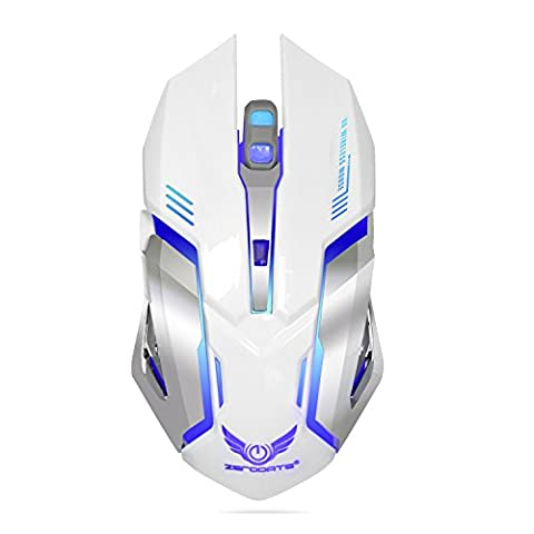 Wireless Game Mouse, DouLukit 2.4GHz 7 Colors Ergonomics Optical Mouse 2400DPI 6 Buttons USB Wireless Charging Game Mouse fo Windows 98/Me/2000/X /Vista/Win 7/Win8/Vista Mac OS or latest (White)