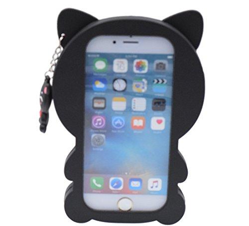 iPhone 6/6S Plus Hülle, BENKER Hochwertig Schlagfeste und Kratzfeste Weich Silikon Kreativ 3D Cartoon Telefon Fall - Weiß Gestreifte Katze Schwarze Katze