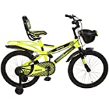 Sintex Steel Kid's Road Cycle with inbuilt Carrier for Boys & Girls 20 inches Single Speed Cycle with tyre & Tube Age Group 5-9 Years semi Assembled, Florescent Green with Black