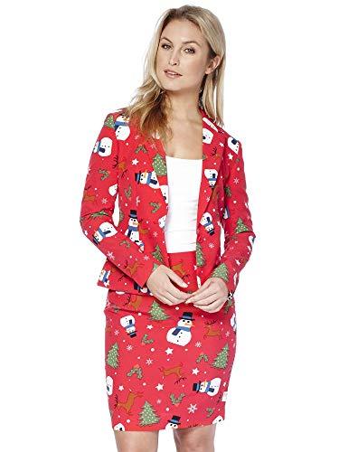 Opposuits Weihnachtsanzüge für Frauen besteht aus Sakko und Rock (Halloween-kostüme Die Clevere)