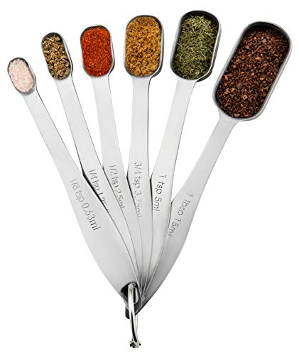 Spring Chef Heavy Duty Stainless Steel Metal Measuring Spoons for Dry or Liquid, Fits in Spice Jar, Set of 6 by Spring Chef Heavy Duty Stainless Steel Spoon