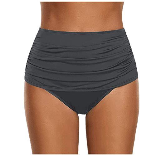 hose Bikinislip Panty Bikini-Hose Seitlich Hohl/Frauen Badehose Tanga String Rüschen Brazilian Sexy Bikini Slip Schnüren Höschen Unterwäsche Schwimmhose (X-Large, Z11-Grau) ()