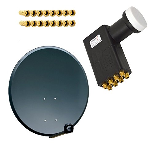 PremiumX Antenne PXS80 Stahl 80cm Digital Sat Schüssel Spiegel in Anthratzit mit LNB Octo 0,1 dB PXO zum Direktanschluss von 8 Teilnehmern Digital HDTV FullHD 3D tauglich + 16 F-Stecker vergoldet