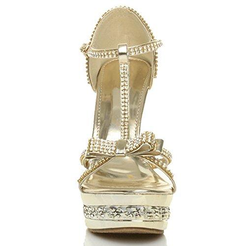 Femmes talon haut strass fête barre en t salomé mariage nœud sandales pointure Or