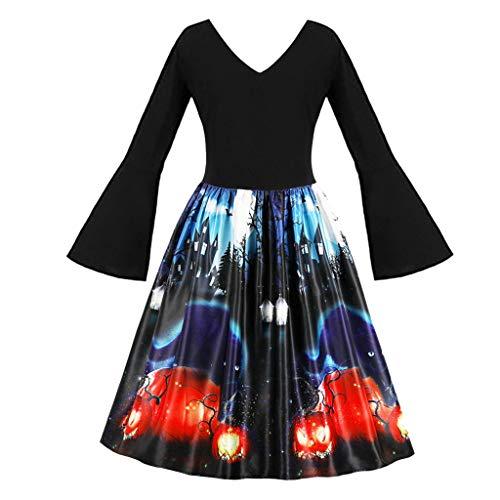 Halloween Kleid Damen Dasongff Elegante V-Ausschnitt A-Line