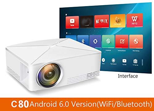 WN-PZF Projektor, verbesserter LED-Videoprojektor Mini-tragbares HDMI 1080P-Heimkino unterstützt Full HD HDMI für PS4-Laptops, Smartphones, Spiele-TVs, Multimedia-Heimkinos,C80UPAndroid