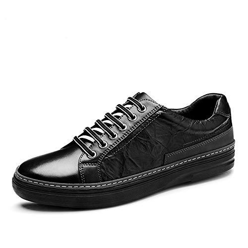 HYF Formelle Schuhe Herrenmode Sneaker Lässig Klassische Reine Farbe Einfache Low-top Lace Up Lederschuhe Schuhe für Männer (Color : Schwarz, Größe : 42 EU) -