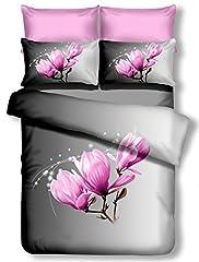 Idea Regalo - Biancheria da letto con cuscino 80X 80Grigio 3d in microfibra completo letto lenzuola fiori motivo floreale viola rosa pink lilac Bianco White Antracite Acciaio grafite Steel Grey Magnolia, Microfibra, grau, 155 x 220