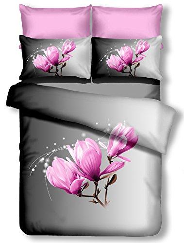 DecoKing Premium 61336 Bettwäsche 200x200 cm mit 2 Kissenbezügen 80x80 grau 3D Microfaser Bettbezug Bettwäschegarnitur Blumen Blumenmuster lila rosa pink lilac weiß white anthrazit stahl graphit steel grey Magnolia