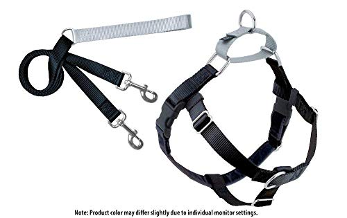 2 Hounds Design Freedom No-Pull Dog Harness with Leash, Large, 1-Inch Wide, Black