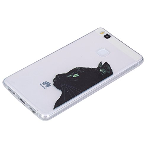 Ukayfe Custodia per Huawei P9 lite,Ultra Slim TPU Gel Gomma Silicone Copertura Case per Huawei P9 lite,Moda Serie Pattern Back Cover Crystal Skin Custodia Stilosa custodia di design Protettiva Shell C Testa nera