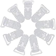 Fastone Packung mit 10 ABS Kunststoff Schnuller Halter Clip Abzeichen Krokodilklemmen Crafting Supplies Transparent, 42 x 25mm