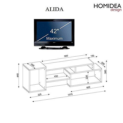 ALIDA TV Lowboard – Wohnwand – TV Stand – Möbel Fernsehtish in elegantem Design (Weiß / Nussbaum) - 2