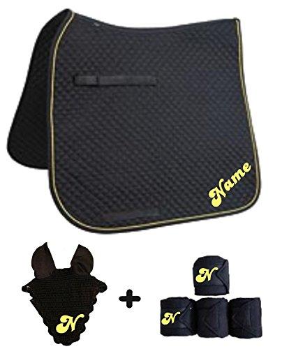 Schabracke mit Wunschname und passenden Bandagen Dressur oder Vielseitigkeit (Schwarz, D mit Bandagen+Fliegenhaube)