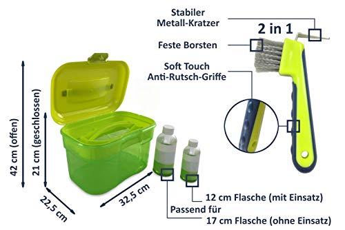 Adozen Pferde-Putzbox mit Inhalt für Kinder und Erwachsene | 9-Teilig befüllt | Soft Touch Antirutschgriffe | Limette-Grün-Gelb - 5