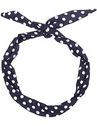 428d041b7250 Bandeau à nouer bleu marine à pois blanc - Bandeaux Cheveux - Bandeau  Vintage - Headband