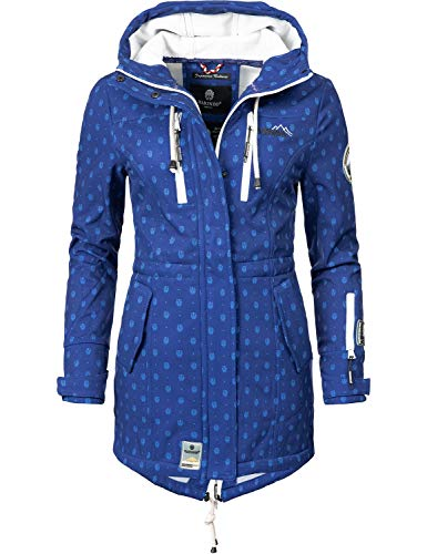 Marikoo Mountain Damen Softshell-Jacke Outdoorjacke Zimtzicke Blue Dots Gr. L