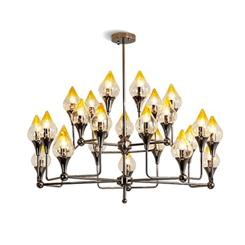 Einfache Kronleuchter großer Ø105cm×H75cm Hängeleuchte Finish Chrome Hängelampe aus Metall und Glas Lampenschirm Gelb Wohnzimmerlicht mit E14×24 Leuchtmittel Inkl. Moderner Zweige Glasleuchter - Alle Glas Chrome Kronleuchter