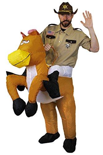 ILOVEFANCYDRESS Batterie SELBST AUFBLASENDES Pferde KOSTÜM FÜR EINE Carry ME -TRAGE Mich VERKLEIDUNG=Batterie BETRIEBEN Unterteil ZUM ANZIEHEN= Oberteil Sheriff =SMALL