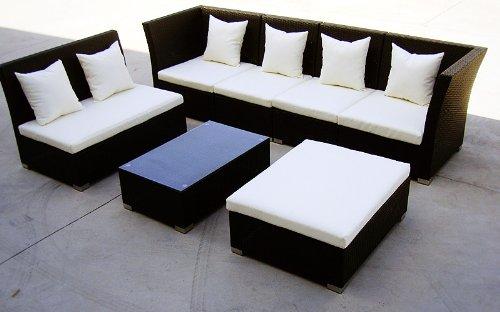 Baidani Gartenmöbel-Sets 10d00004.00001 Designer Lounge-Garnitur Thunder, 4-er Sofa, 2er Sofa, 1 Hocker, Couch-Tisch mit Glasplatte, schwarz - 4