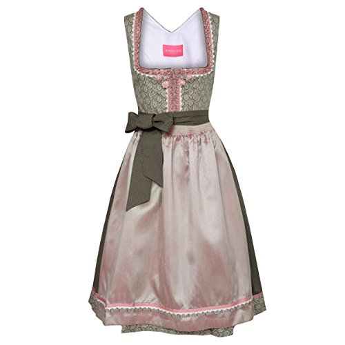 Krüger Dirndl Damen Trachten-Mode Midi Dirndl Christiana in Oliv traditionell