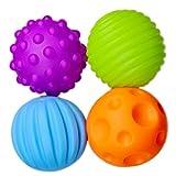 Finer Shop 4pcs Baby-Hand fangen Massage Ball mit Sound Effect Frühe pädagogisches Spielzeug