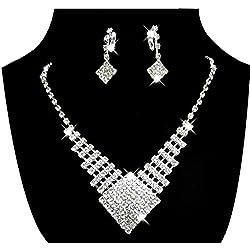 Juego de joyas con Pendientes y collar de perlas cuadradas en forma de diamante