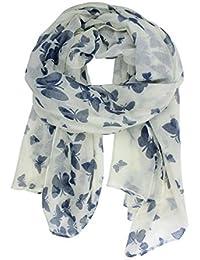 Mariposa Lady mujeres moda elegante suave bufanda chal cuello Wrap pañuelo en la cabeza robó (mariposa azul marino/fondo blanco)