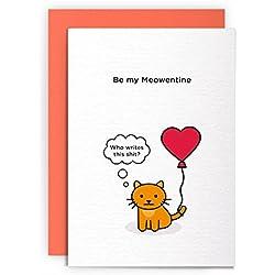 Gato día de San Valentín Funny Rude graciosa-que escribe este mierda-Tarjeta de San Valentín tarjeta de felicitación amigos broma Naughty para él para ella