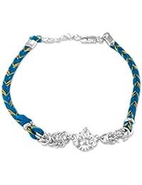 Taraash White 925 Sterling Silver Ganeshji Thread Rakhi for Brother BRR0639S
