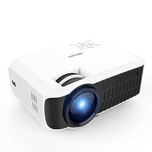 Beamer, DBPOWER T22 2400 Lumens LCD Mini Projektor Multimedia Heimkino Video Projektor Unterstützt 1080P HDMI USB SD Karte VGA AV für TV Laptop Spiele iPhone Android Smartphone, Weiß