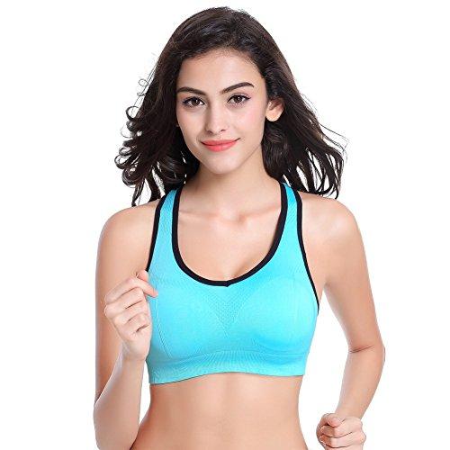 EXIU Femmes Soutien-gorge Sans couture Sport Rembourré extensible Yoga Fitness Haut Yoga Vest Bleu