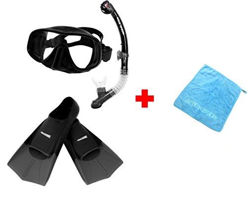 Aqua Speed SET Taucherbrille, Schnorchel, kurze Trainingsflossen (AMATI+ULTRA+HIGH TECH) für Erwachsene Damen/Herren + kleines Microfaser Tuch, Größe:39/40