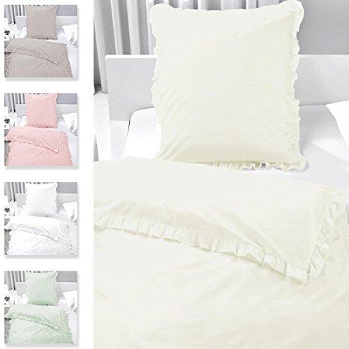 Gräfenstayn® 2-tlg Bettwäsche Set Rüschen mit Reißverschluss aus 100% Baumwolle - Deckenbezug 135x200cm und Kissenbezug 80x80cm – Vintage-Stil mit Öko-Tex Siegel Standard 100: