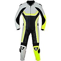 Fluoreszierender Einteiler Motorradkombi Motorrad Lederkombi aus Rindsleder echtleder Kombi Gelb, Größe:54