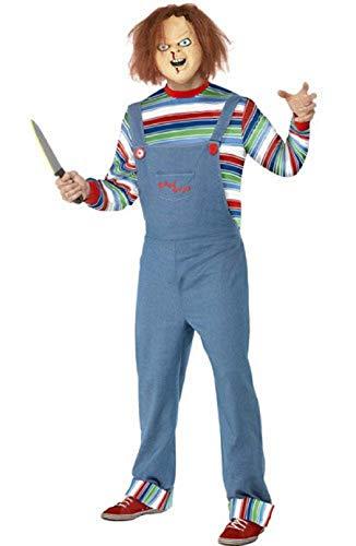 Herren Chucky Kostüm - Fancy Me Herren Chucky Lizensiert Halloween Film Schrecken Horror Kostüm Kleid Outfit mit Maske - Blau, Blau, Medium / 38