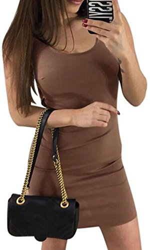 Oyedens Damen Sommer Backless Gerade Minikleid Coffee