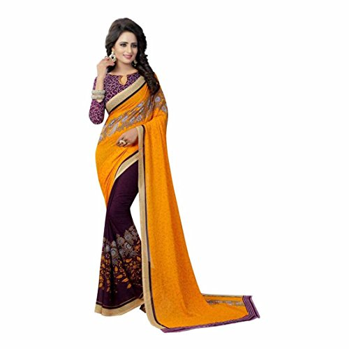 Indian Handicrfats Export Printed Daily Wear Georgette Saree (Yellow, Purple) Indian Saree