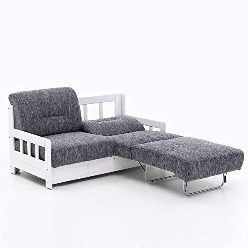 Schlafsofa Campuso Grau Weiß Stoff Sofa Couch Massiv Holz Schlafcouch Bettfunktion
