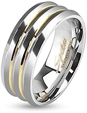 Paula & Fritz® Ring aus Edelstahl Chirurgenstahl 316L silber 6 oder 8mm breit Drei Ebenen goldenen Linien verziert...