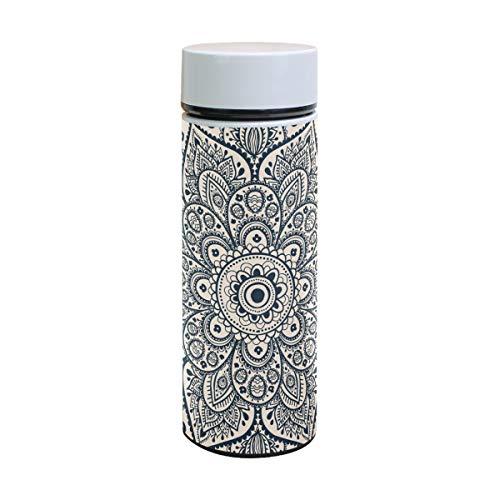 EZIOLY Hippie Mandala Vakuumisolierte Edelstahl-Tasse Wasserflasche Reise Kaffee Thermos 350 ml