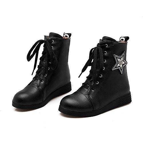 AgooLar Damen Niedriger Absatz Eingelegt Rund Zehe Weiches Material Schnüren Stiefel Schwarz
