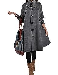 ZQQ Las mujeres otoño e invierno más tamaño manga larga tela de lana suelta color sólido falda abrigo , gray , l